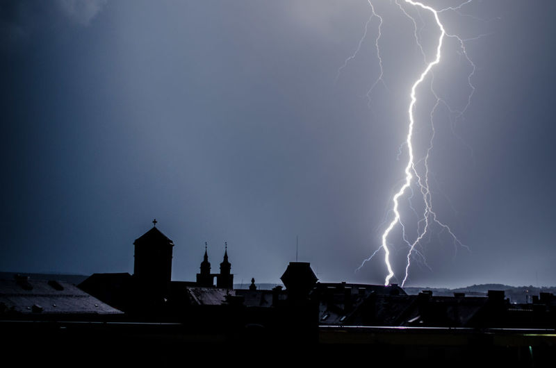 Lightning Over Buildings At Dusk
