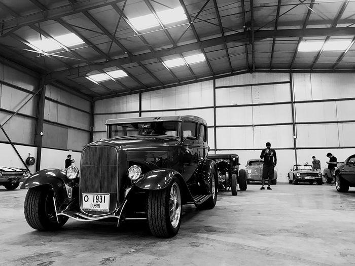 The Rods Blackandwhite Warehouse Car Vehicle Custom Cars, Hot Rods, Car Show Abody Modelt Tudor Streetrod HotRod Indoors