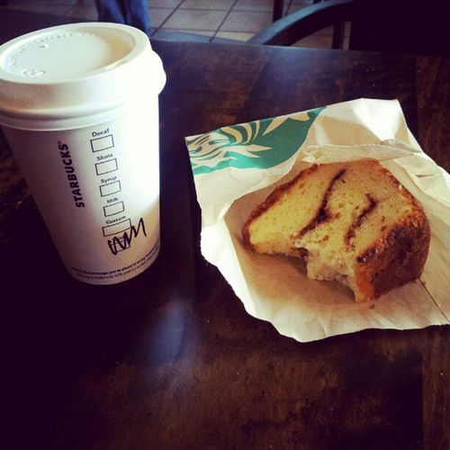 first bite of the day. Starbucks CinnamonSwirl Coffeecake