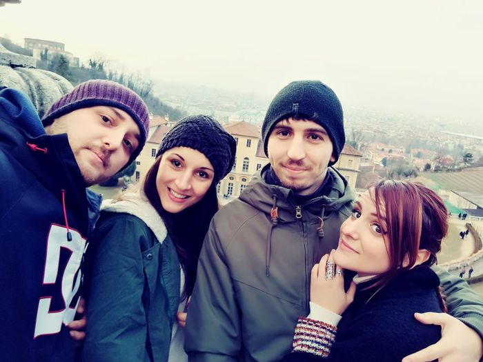 Winter Warm Clothing Cold Temperature Friendship Snow Portrait Looking At Camera