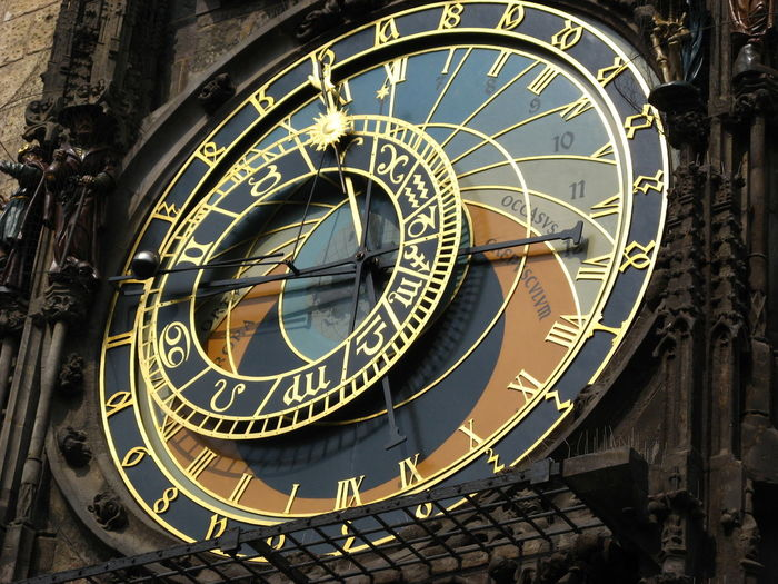 Low angle view of prague astronomical clock