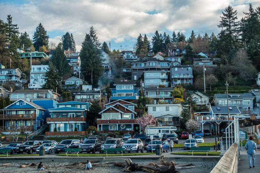 A view of waterfront homes at Dash Point, Washington. Architecture Building Exterior Built Structure Cloud - Sky Dash Point Day Homes Nature No People Outdoors Sky Tree Water Waterfront