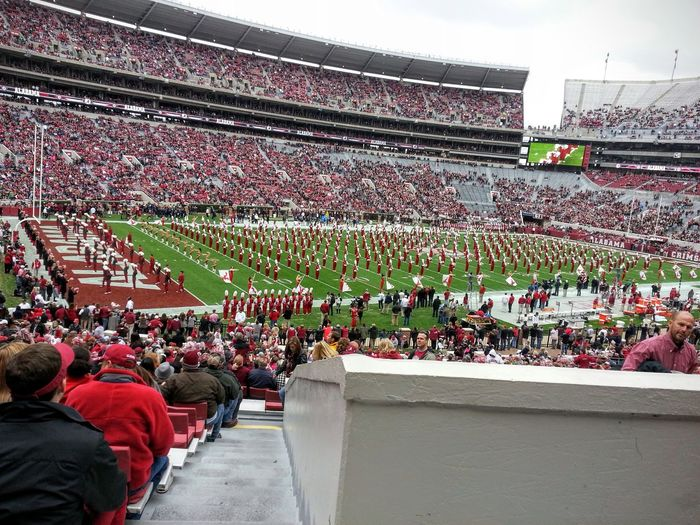 Collegiate Team College Football Bryant Denny Stadium Tuscaloosa Alabama University Of Alabama University School Crimson Roll Tide  Roll Tide Roll  Bama Football Fever Football Stadium Football Game People SENIOR DAY Band Million Dollar Smile Fan Halftime Color Palette Crimson Tide