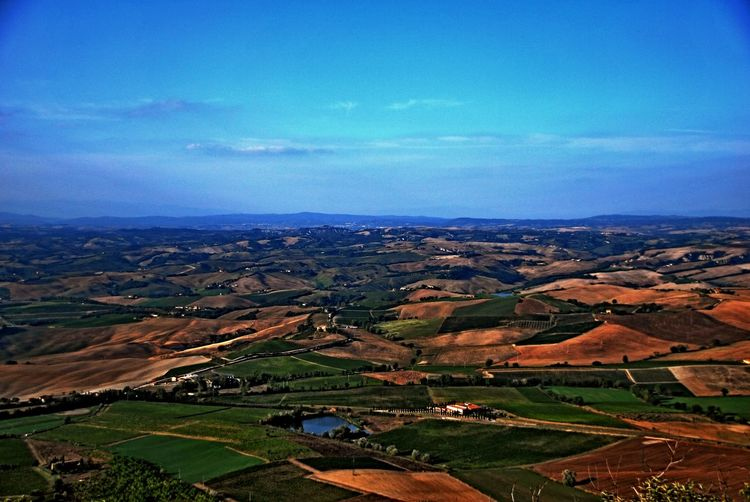 Montalcino. Agriculture Beauty In Nature Blue Cultivated Land Day Farm Field Landscape Mountain Nature No People Outdoors Patchwork Landscape Rural Scene Scenics Sky Tranquil Scene Tranquility