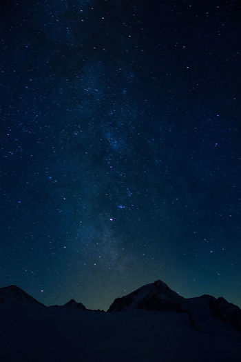 Mountains Against Star Field At Night