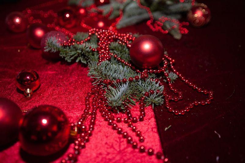High angle view of christmas tree on table