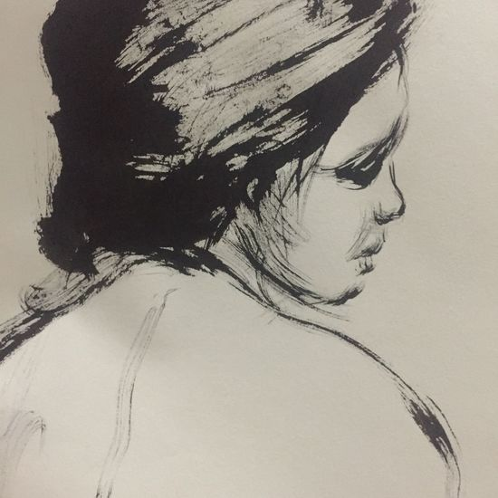 Lifedrawing, brush and ink on paper Drawings Art Lifedrawing Sketch Drawing Indoors  One Person Young Women