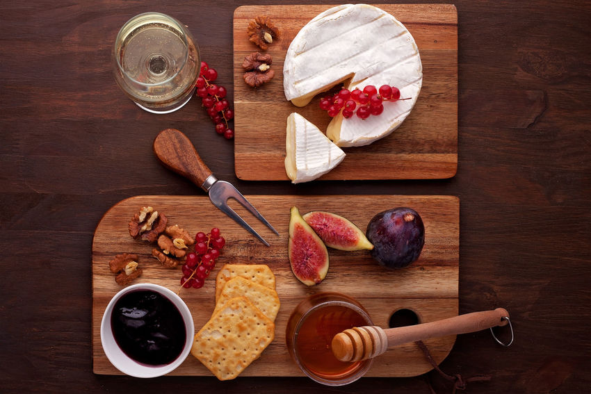 Camembert Cheese! Nuts Cheese Close-up Day Directly Above Fig Food Food And Drink French Freshness High Angle View Indoors  No People Peanut Butter Ready-to-eat Variation White Wine Wine Wineglass Wood - Material
