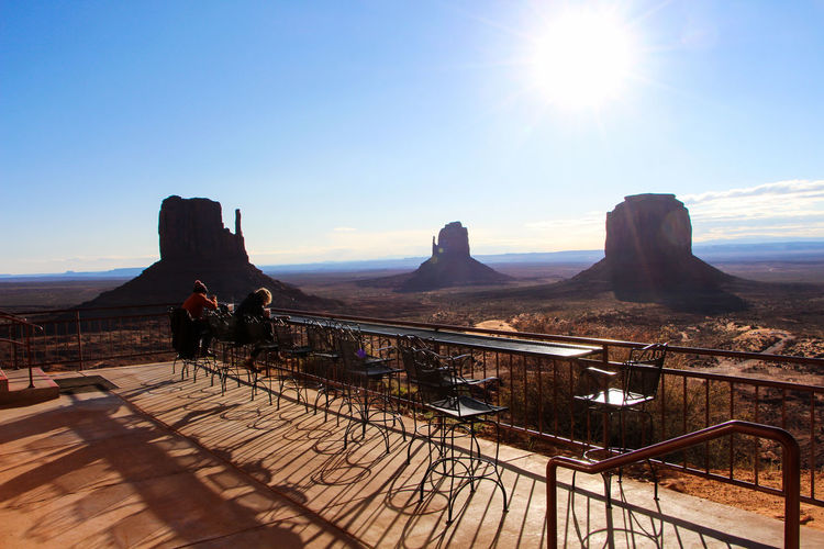 Sky Sunlight Nature Real People Sun Group Of People Railing Lifestyles Men Leisure Activity People Architecture Beauty In Nature Adult Day Tourism Women Scenics - Nature Mountain Travel Outdoors Lens Flare The View Hotel Arizona Utah