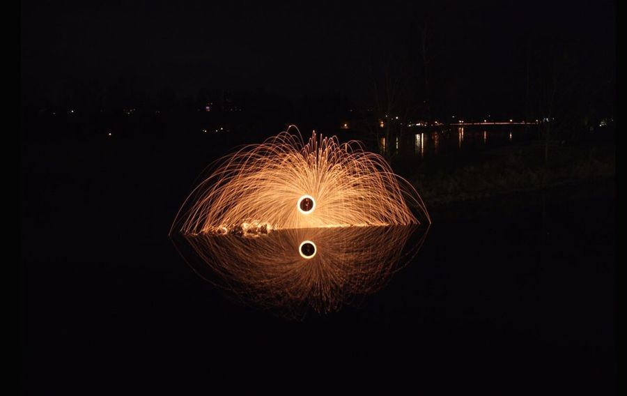 Night Circle Illuminated Wire Wool Long Exposure Arts Culture And Entertainment Motion One Person Outdoors People Sky Water Nature Landscape Perspectives On Nature