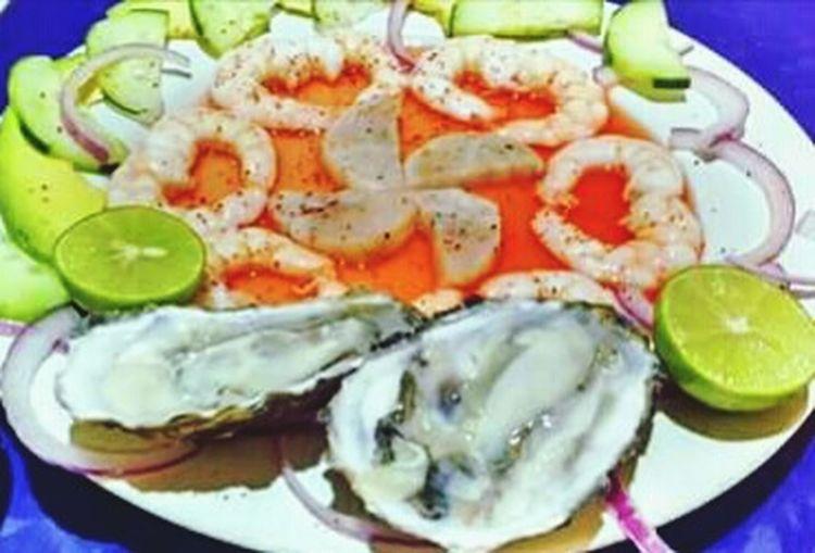 Row! Fresh Seafood Oisters Scallops Shrimp Ostiones Callos Y Camaron Mariscos Frescos Crudos!