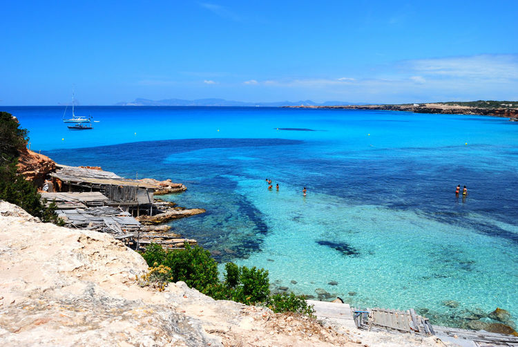 Scenic view of blue sea against sky at formentera island