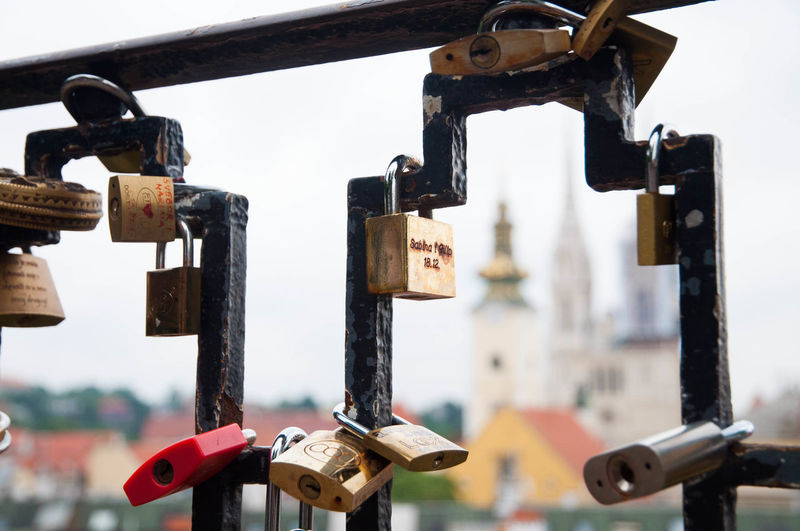 Bridge - Man Made Structure Close-up Day Focus On Foreground Hanging Hope - Concept Lock Love Love Lock Metal No People Outdoors Padlock Protection Railing Safety Security Sky