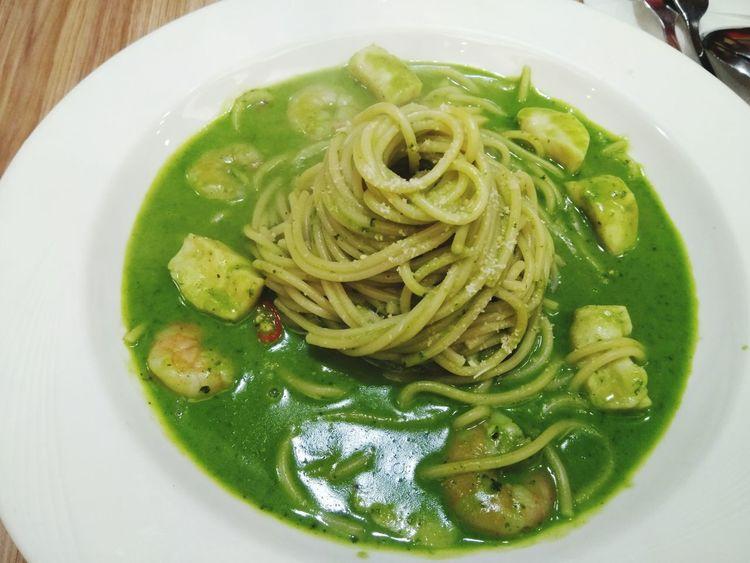 鮮蝦干貝麵 Pasta EyeEm Delicious DELICIOUS FOOD ♡ Dinner Time Taking Photos EyeEm Best Shots Noodle Eating Neihu Taipei 內湖 青醬 鮮蝦干貝麵