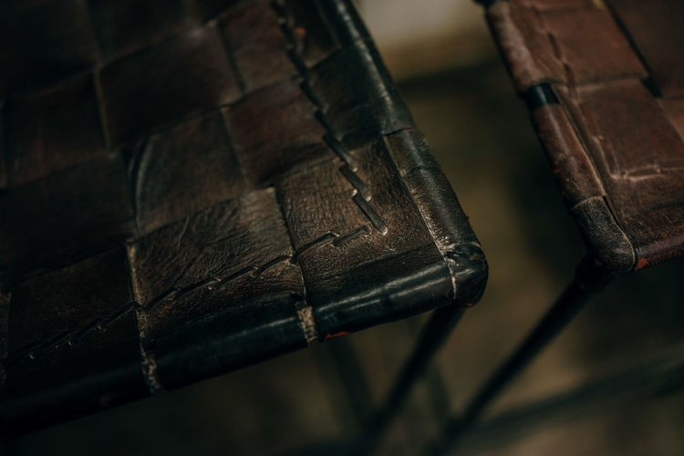High angle view of leather chairs