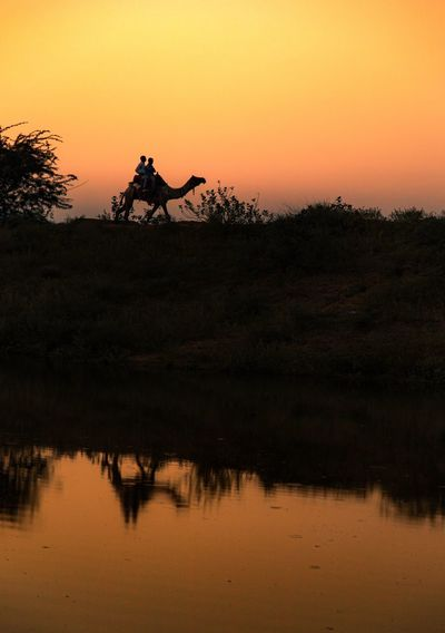 Silhouette people riding by lake against orange sky