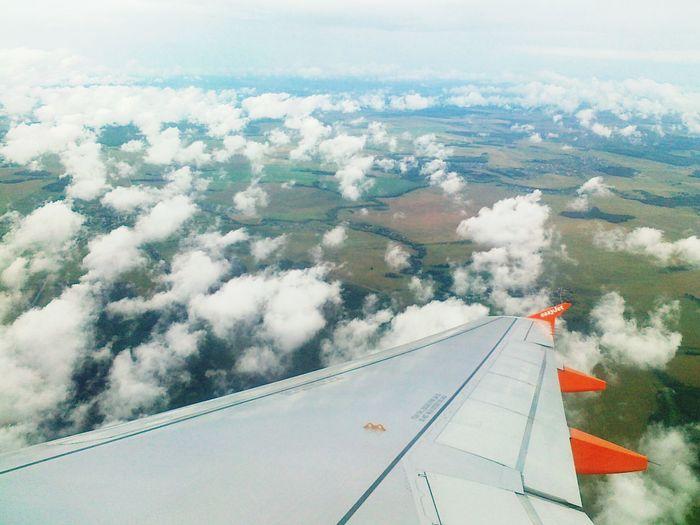 Aerial Shot London Sky Flight Airbus A330 Plane Window Height Clouds Bird's Eye View Plane