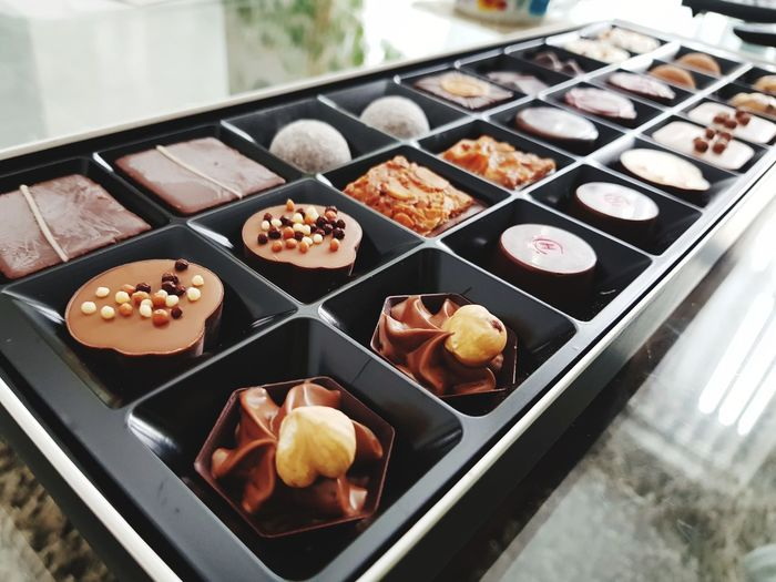 High angle view of sweet food in tray