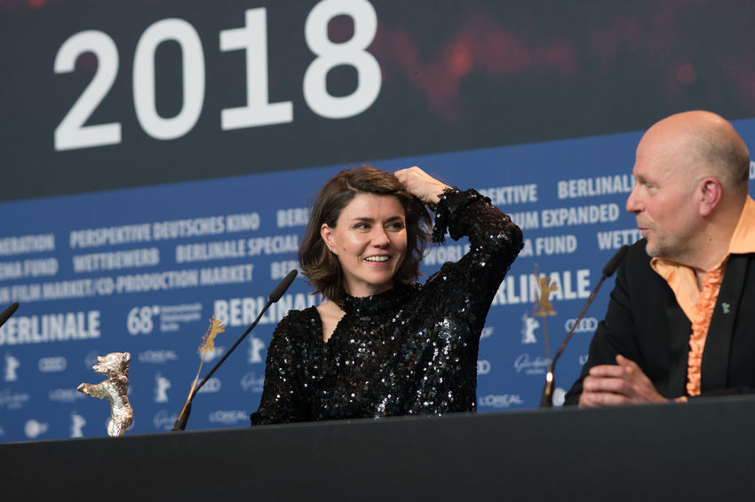 Berlin, Germany - February 24, 2018: Polish film director, screenwriter and producer Malgorzata Szumowska receives the Silver Bear Grand Jury Prize for 'Mug' at the 68th Berlinale Festival 2018 AWARD Artist Berlin Event Film Festival Press The Media Winning Arts Culture And Entertainment Berlinale Berlinale 2018 Berlinale2018 Berlinale68 Entertainment Entertainment Event Film Industry Jury Prize Malgorzata Szumowska Mass Media Microphone People Press Conference Prize Silver Bear
