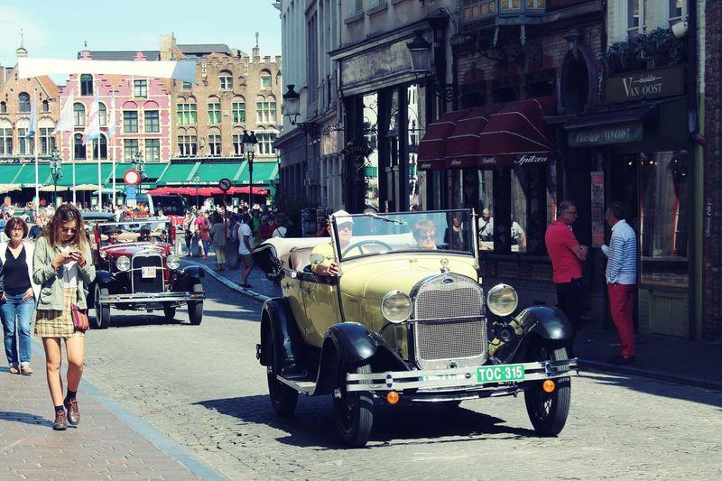 Land Vehicle Street Car City Road City Life Bruges Belgium Brugge Picsartrefugees Brüggesehenundsterben Cars Old Car Streetphotography