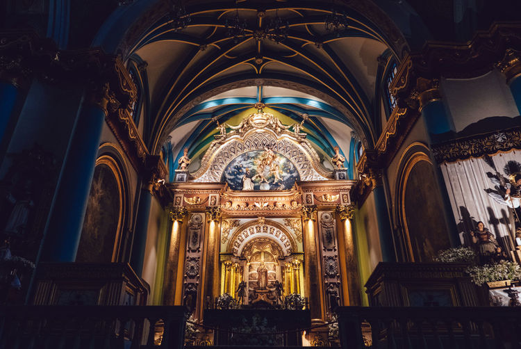 Low Angle VIEW OF CHURCH Altar At Night