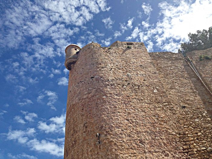 Low angle view of denia castle against sky