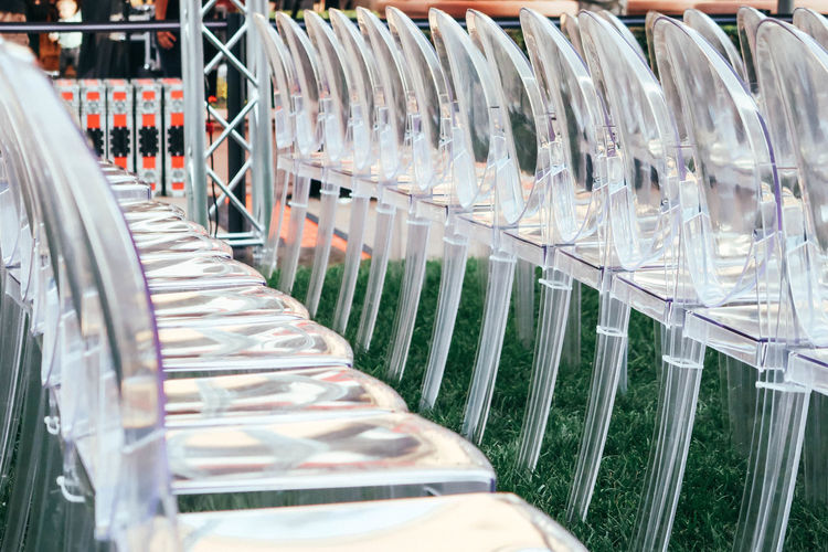 Plastic chairs Chair Event Meeting A Lot Audience Close-up Concert Lecture Many Masterclass No People Organization Plastic Same  Seminar