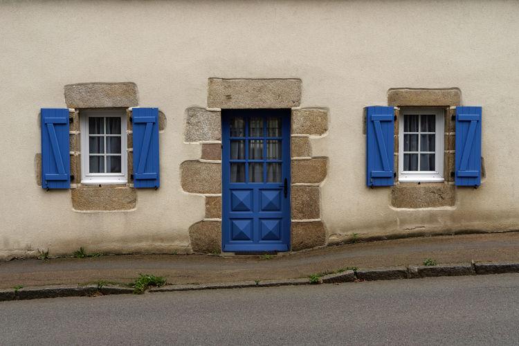 Blue window of building