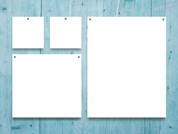 Four square and rectangular frames with pins on aqua wooden background Four Square Advertisement Aqua Backgrounds Blank Blue Copy Space Creativity Cyan Design Empty Frame Hanging Indoors  No People Page Paper Textured  Wall - Building Feature White Color Wood - Material