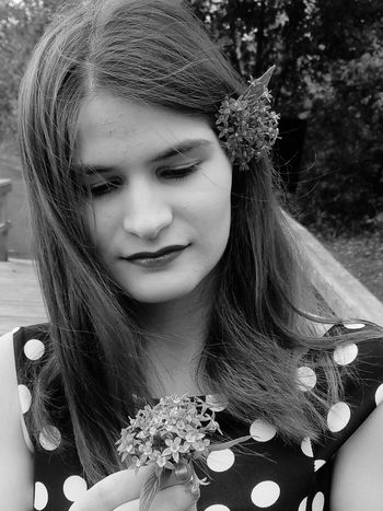 Girl woman flower blackand white beauty nature angel shy innocent senior pictures Flower Only Women One Woman Only Beautiful Woman One Person Adults Only One Young Woman Only Beauty Adult Young Adult Beautiful People Front View People Outdoors Portrait Close-up Headshot Young Women Pink Color Day