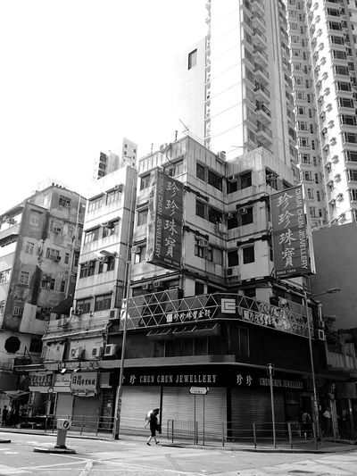 Old And New Buildings Old And New Architecture Old And New Old Buildings Building Exterior Monochrome Black And White Street Photographer-2016 Eyem Awards Architecture Hong Kong Architecture IPhoneography Hong Kong Building And Sky Sunlight, Shades And Shadows Hong Kong Skyline Light And Shadow