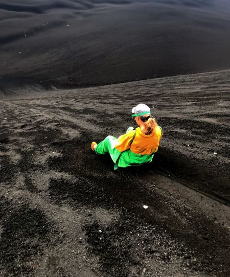 One Person High Angle View Landscape Adventure Sky Adrenaline Junkie Motion Power In Nature VolcanoBoarding Extreme Sports Volcano Volcanic Landscape Volcanoview Volcanic Landforms Volcanic Crater Lava Field Nicaragua Cerro Negro Volcanic Rock Scenics Nature Energetic Determination Exploration Geology