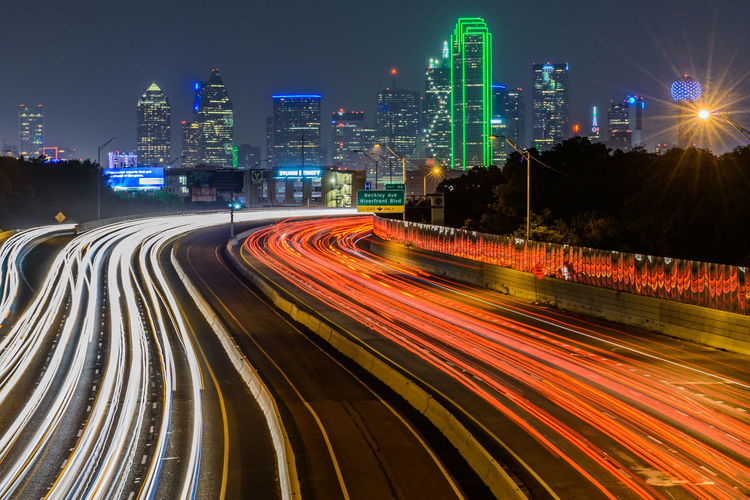 Architecture Building Exterior City Dallas High Street Illuminated Light Trail Long Exposure Long Exposure Night Photography Long Exposure Shot Motion Night No People Outdoors Road Skyline Speed Street Transportation Urban Scene