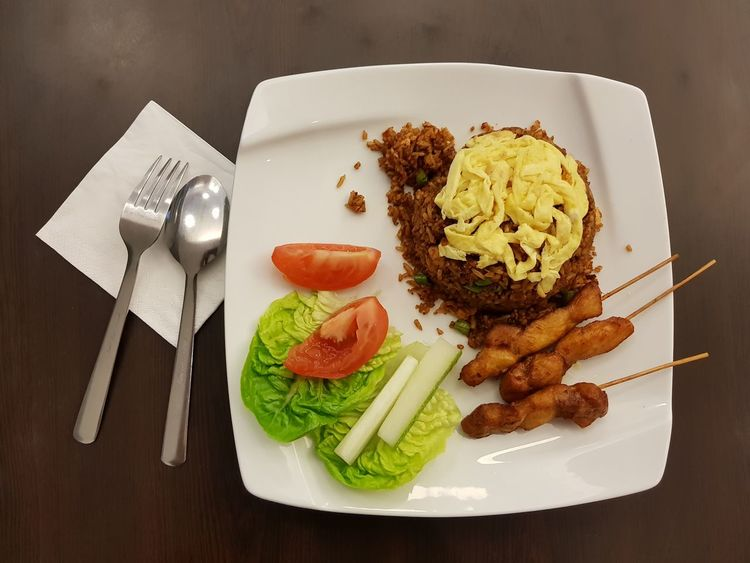 Plate Food Food And Drink Healthy Eating Indoors  No People Table Freshness Ready-to-eat Close-up Day Satay Fried Rice Spoon Fork Delicious Greasy Oily Spicy Food Hot Food