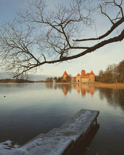 Reflection Water Tree Architecture Sky Lake No People Travel Destinations Day Beauty In Nature HuaweiP9 Mobile Photography Tourism History Trakai Castle Lithuania Nature