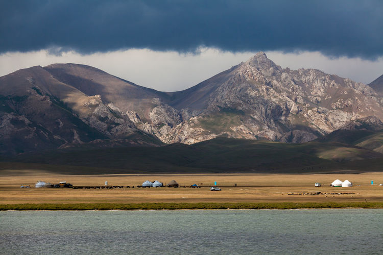 Scenic View Of Song Kol Lake Against Sky