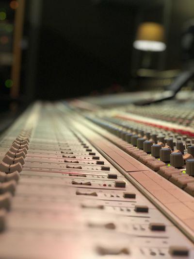 Close-up of sound equipment