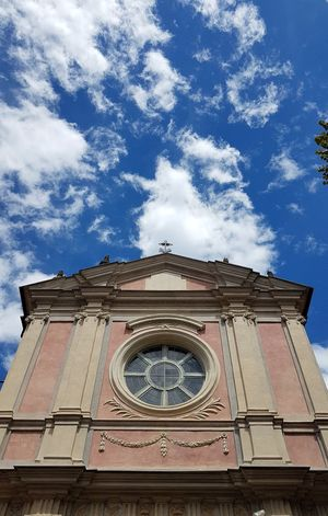 Travel Destinations Low Angle View Architecture Clock Building Exterior Cloud - Sky History Day Façade Clock Tower Sky Religion Outdoors Clock Face Travel Built Structure Bell No People Time Astrology Sign Langhe Alba Piedmont Summer