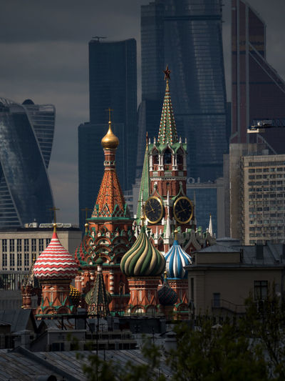 High Section Of St Basil Cathedral Amidst Buildings In City