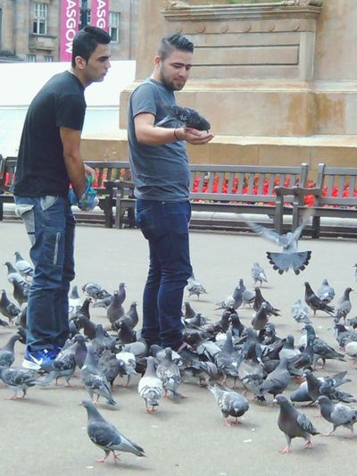 Feed the birds! Two People Ful L Length Only Men Law City Built Structure Adults Only Young Adult Men People Day Adult Togetherness Outdoors Pigeons