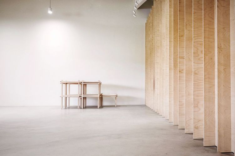 Empty chair in building
