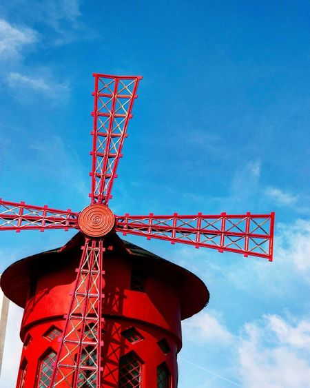 Red Low Angle View Sky Communication Built Structure Outdoors No People Day Paris Moulinrouge