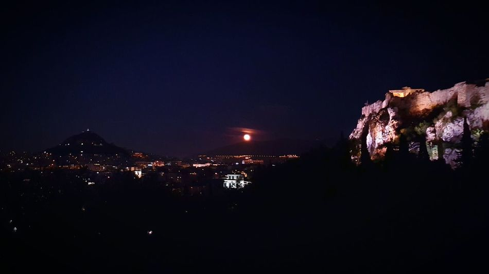 The Changing City Acropolis Athens By Night Greece Fullmoon Moonlight Clouds City Lights View