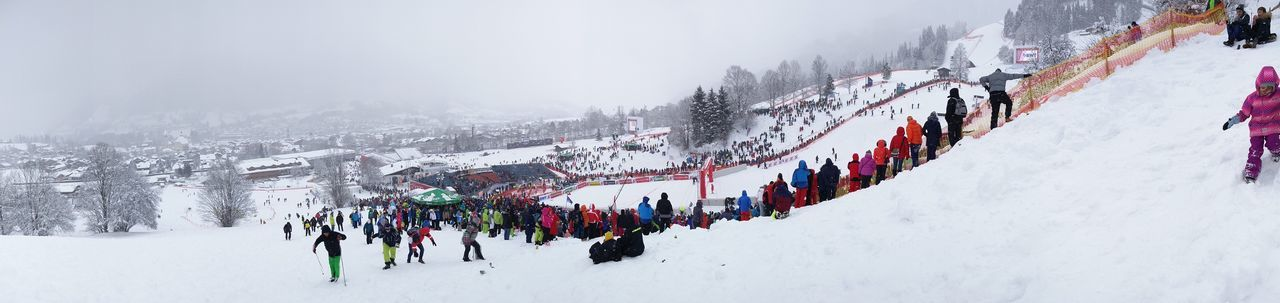 Panoramic view of people on snow covered land