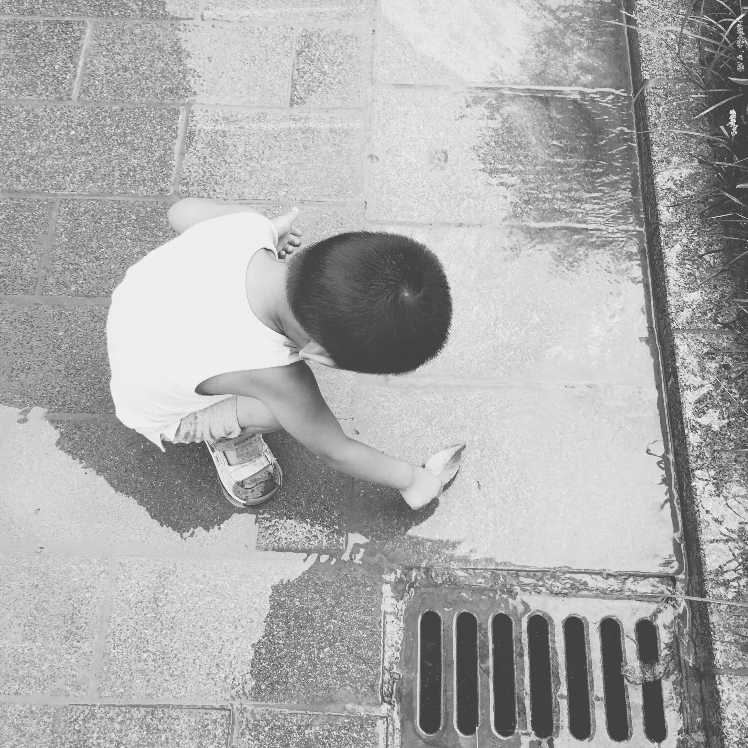 high angle view, childhood, concrete, outdoors, day, summer