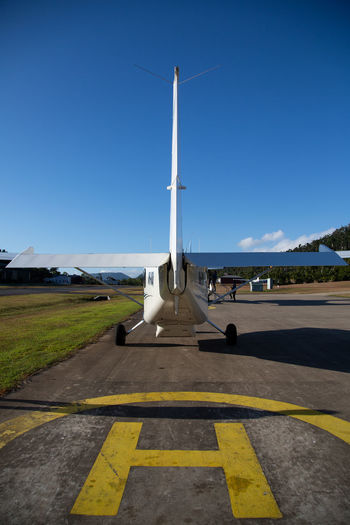 View of airport runway against sky