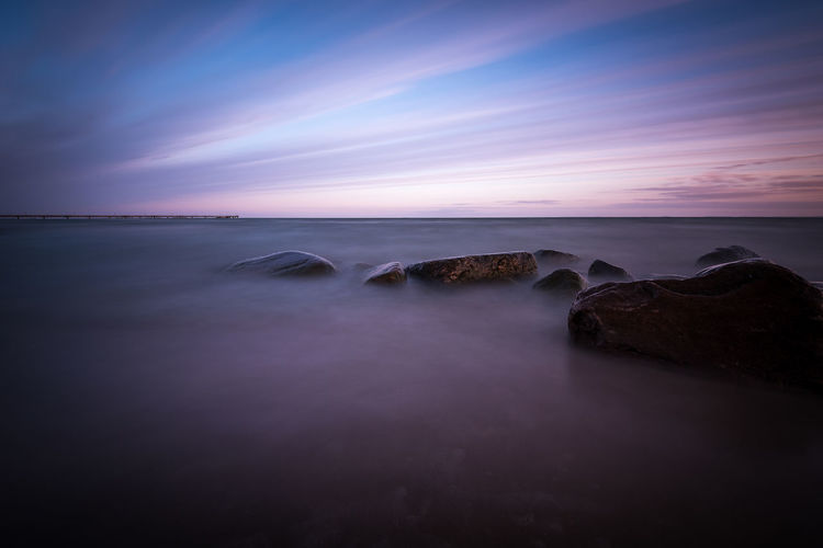 Stones on Lubmin beach Water Sea Long Exposure Sky Scenics - Nature Beauty In Nature Horizon Over Water Horizon Cloud - Sky Motion Tranquility Blurred Motion Tranquil Scene Land Beach Rock Nature Seascape No People Purple Stones Baltic Sea EyeEm Best Shots Travel Destinations Lubmin