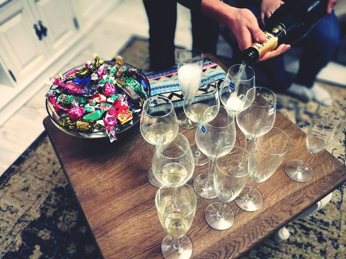 Champagne Champagne Glasses Celebration Party House Pouring Alcoholic Drink EyeEm Selects One Person Day Close-up Indoors  People Human Body Part Adult Human Hand