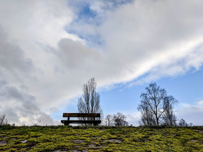 a park bench on a bank Moss Bench Park Bench Park - Man Made Space Wales UK Winter Seating To Sit Close To Nature Relax Observation Point River Bank  From Below Wintertime Tree Storm Cloud Sky Cloud - Sky Park Cold