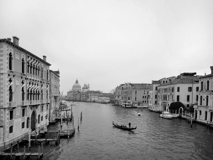 Canale Grande Blackandwhite Gondola - Traditional Boat Water Nautical Vessel City Cultures Cityscape Architecture Sky Building Exterior Built Structure Gondolier Grand Canal - Venice Gondola Canal Water Vehicle